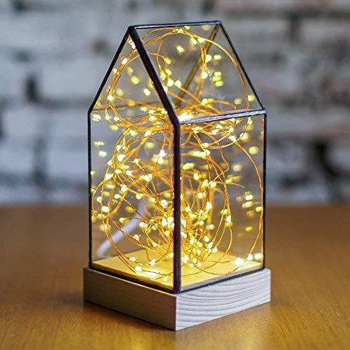 GUOCAO Luz Oscurecimiento creativo de madera sólida Stars Shine Sombra de la lámpara LED de Navidad Sparks libro de arte Tabla enciende el regalo de cumpleaños Bar Cafetería lámpara de mesa de cristal