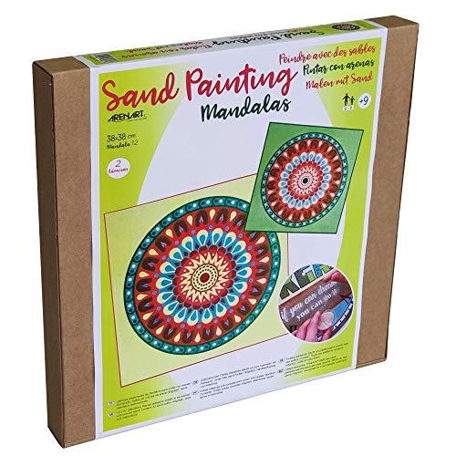 Arenart   Pack 2 Mandalas 38x38cm   para Pintar con Arenas de Colores   Manualidades para Adultos y Jóvenes   Dibujo Fácil   Pintar por números   +9 años