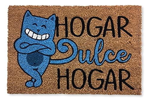 KOKO DOORMATS felpudos Entrada casa Originales, Fibra de Coco y PVC, Felpudo Exterior Gato HOGAR Dulce HOGAR, 40x60x1.5 cm |...