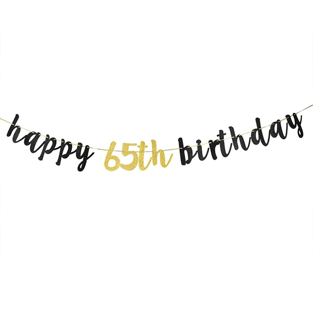Happy 65th Birthday Banner, Black Glitter 65th Birthday Party Decoration Sign