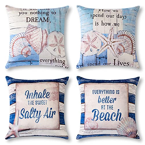 Artscope Cozy Cushion Covers, Set of 4 Soft Velvet Blue Seaside Holiday Pattern Decorative Throw Pillow Covers Cases for Sofa Couch Bedroom Living Room Home Decor 45x45CM