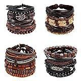 21PCS Bracelets en Cuir Hommes Femmes Tressé Bracelet Corde Wrap Charmes Fait à La...