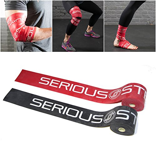 Serious Steel Mobility & Recovery (Floss) Bands |Compression Band | Tack & Flossing Band (7 feet L x 2 inch W) - Black & Red