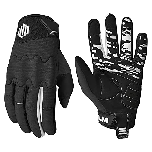 ILM Adult Motorcycle Dirt Bike Motocross ATV MTB Mountain Bike Gloves Full Finger Summer Breathable Touch Screen Glove for Bicycle Cycling BMX Sports Outdoor (Black Adult-XS)