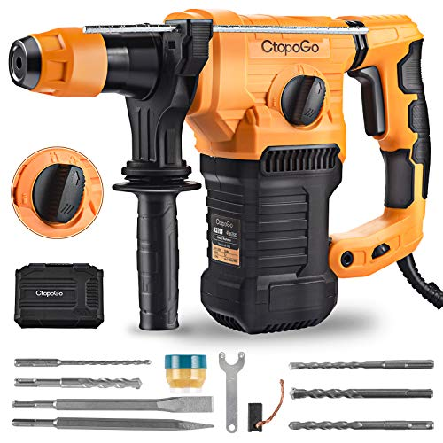 SDS-Plus 1500W Heavy Duty Rotary Hammer Drill 1-1/4 Inch 32MM, Safety Clutch 4 Functions with Vibration Control Including Grease, Chisels and Drill Bits with Case