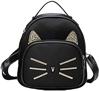 Bizarre Vogue Cute Small Cat Style Backpack for Girls (Black,BV1215)