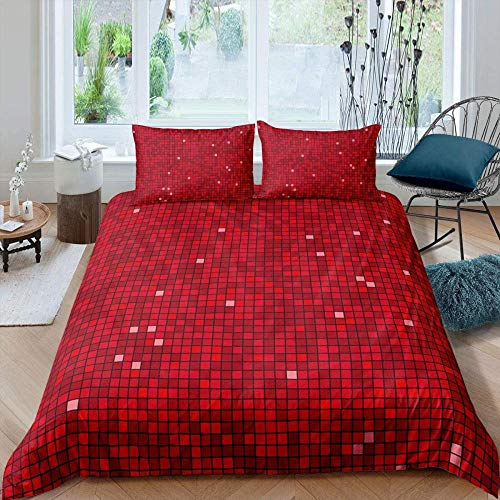 WEDSGTV Duvet Covers Pillowcases 3 Sets 100% polyester cotton, Red grid geometric pattern Duvet Cover Bedding Set With Matching Pillow Cases | DIY Print | Polycotton Super Soft Material