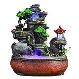 Zyj stores Acuario de Interior Fuente de Agua de rocalla Decorativo Adornos Lucky Azud Rueda de Viento de la Sala de Escritorio Fountain36 * 25 * 42cm
