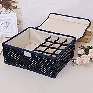 Wuyue Hua Underwear Storage Organiser, Bra Underwear Drawer Organiser Collapsible Closet Dividers and Foldable Storage Box for Bras Underwear Socks Neck Ties Scarves Organizer