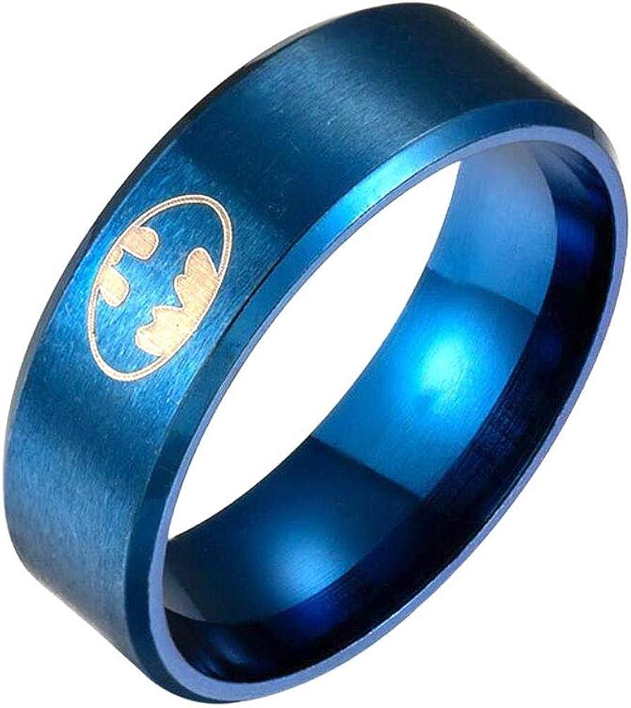 Milove 8MM Blue Popular Batman Symbol Steel Titanium Bargain Ring Stainless