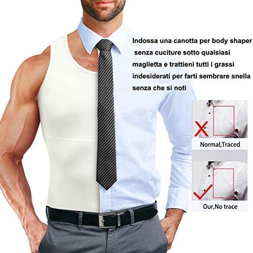 Cumian - Camiseta de compresión para Hombre - Camiseta Reductora de compresión para el Abdomen - Faja Deportiva