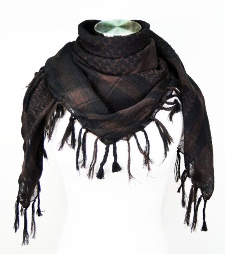 Premium Shemagh Head Neck Scarf - Dark Brown/Black