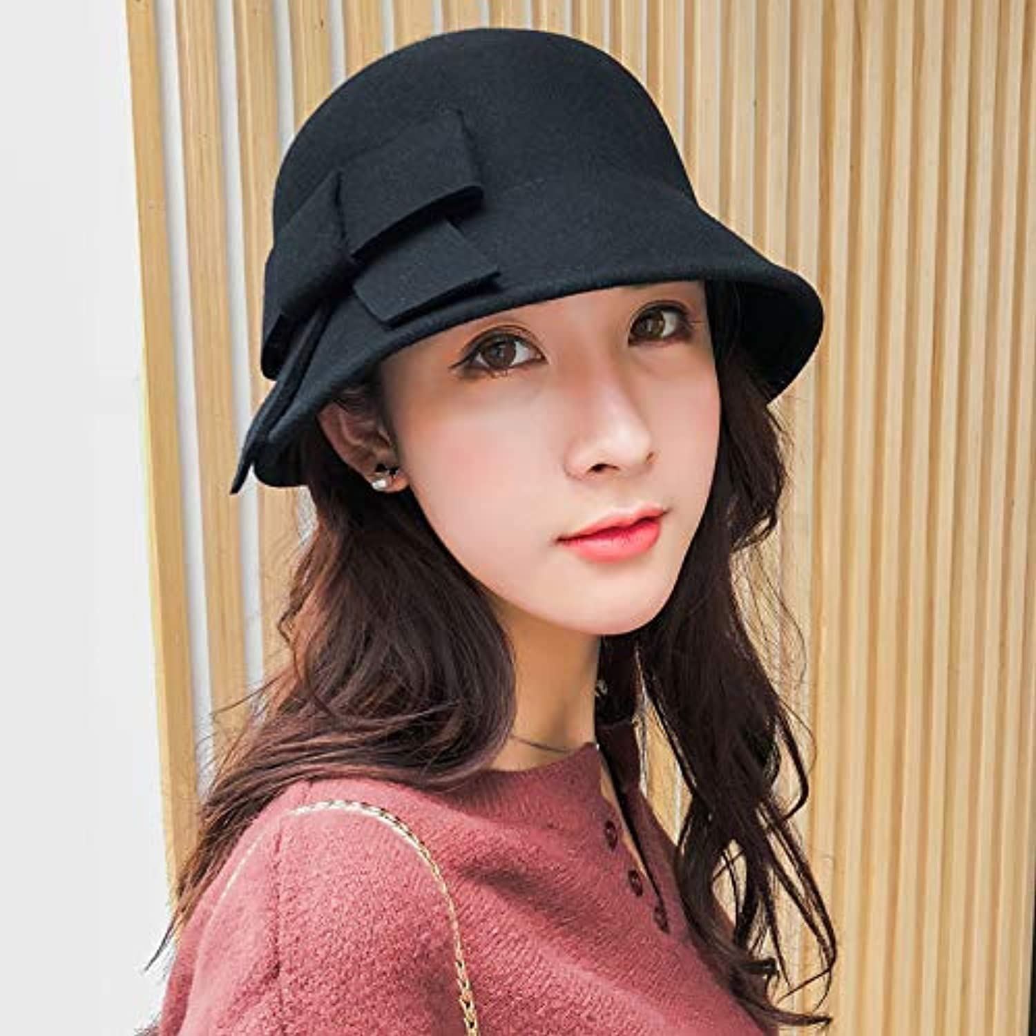 Dvfgsxxht Winter Hats Autumn and winter woolen hat hat autumn pot hat female youth fisherman hat bow fashion wild autumn tide (color   Black, Size   M(56-58cm)) Warm hat