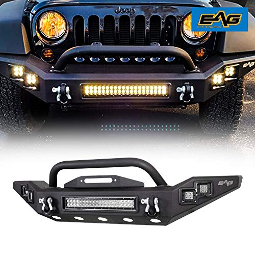 EAG Full Width LED Front Bumper Fit for 07-18 JK Wrangler
