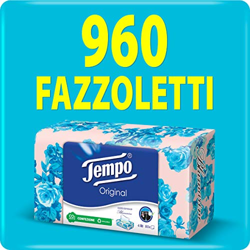 Tempo Fazzoletti Box – 4-lagig – 12 Packungen mit 80 Taschentüchern in 4 verschiedenen Grafiken (960 Taschentücher)