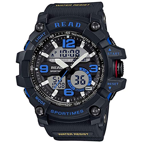 JM- Reloj, Reloj Deportivo para Hombre Reloj analógico-Digital Impermeable para cronógrafo Militar Cronógrafo Banda de Silicona clásica (Color : C)