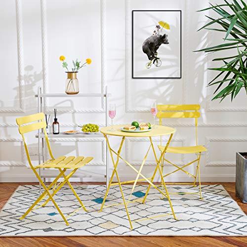 Bistro Set 3 Stück Gartenmöbel Garnitur Sitzgruppe 2 Stühle und 1 Tisch Metall Klappmöbel Balkonset für Hof Garten Draussen(Gelb)