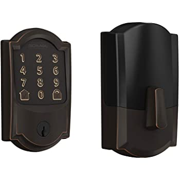 Schlage Lock Company BE489WB CAM 716 Schlage Encode Smart Wifi Deadbolt with Camelot Trim In Aged Bronze, Lock