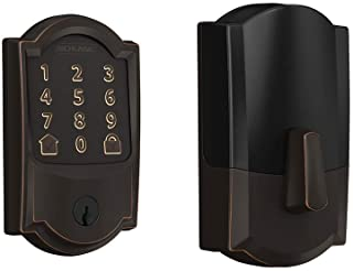 Schlage Encode Smart WiFi Deadbolt with Camelot Trim in Aged Bronze (BE489WB CAM 716)