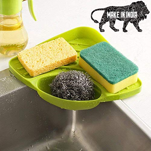 Karma Enterprise Kitchen Sink Corner Organizer Wash Basin Sponge Soap Scrub Brush Storage Holder Rack with Suction Cup, Green Color (Made in India)