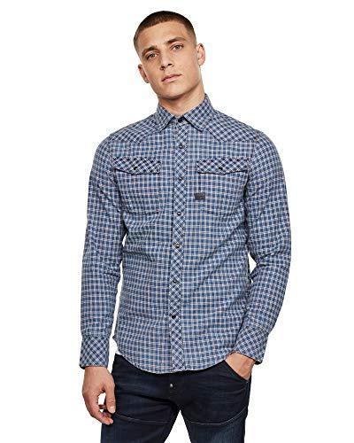 G-STAR RAW 3301 Slim Fit Hemden Camisa, Mehrfarbig (Sun Faded Dk Auburn Class Check C122-b621), L para Hombre