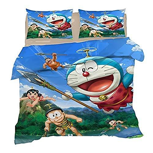 XWXBC Doraemon Set di biancheria da letto 3 pezzi con copripiumino 3D + 2 federe, spessi e morbidi, A11, Double 200x200cm