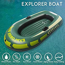 Kayak Paddles, Inflatable Kayak Boat Raft for 1/2 Person, Canoe Fishing Boat with Double Valve for Adults Fishing Max Loading 90kg 6 High Quality: Made of high-quality and tough PVC material, come with a wall thickness of 0.3cm, the inflatable boat is resistant to tearing and abrasion, and it features high strength and not easy to damage. Heavy Duty: Kayak two sizes :150*100cm, load: 55kg; 188*114cm, load: 90kg.Whether you're fishing, relaxing, or rowing on the Lake, the inflatable boat is great for making your boating experience exciting and entertaining. Inflatable Design: With the inflatable design, this boat is easy to fold. So that you can be convenient to store and carry.