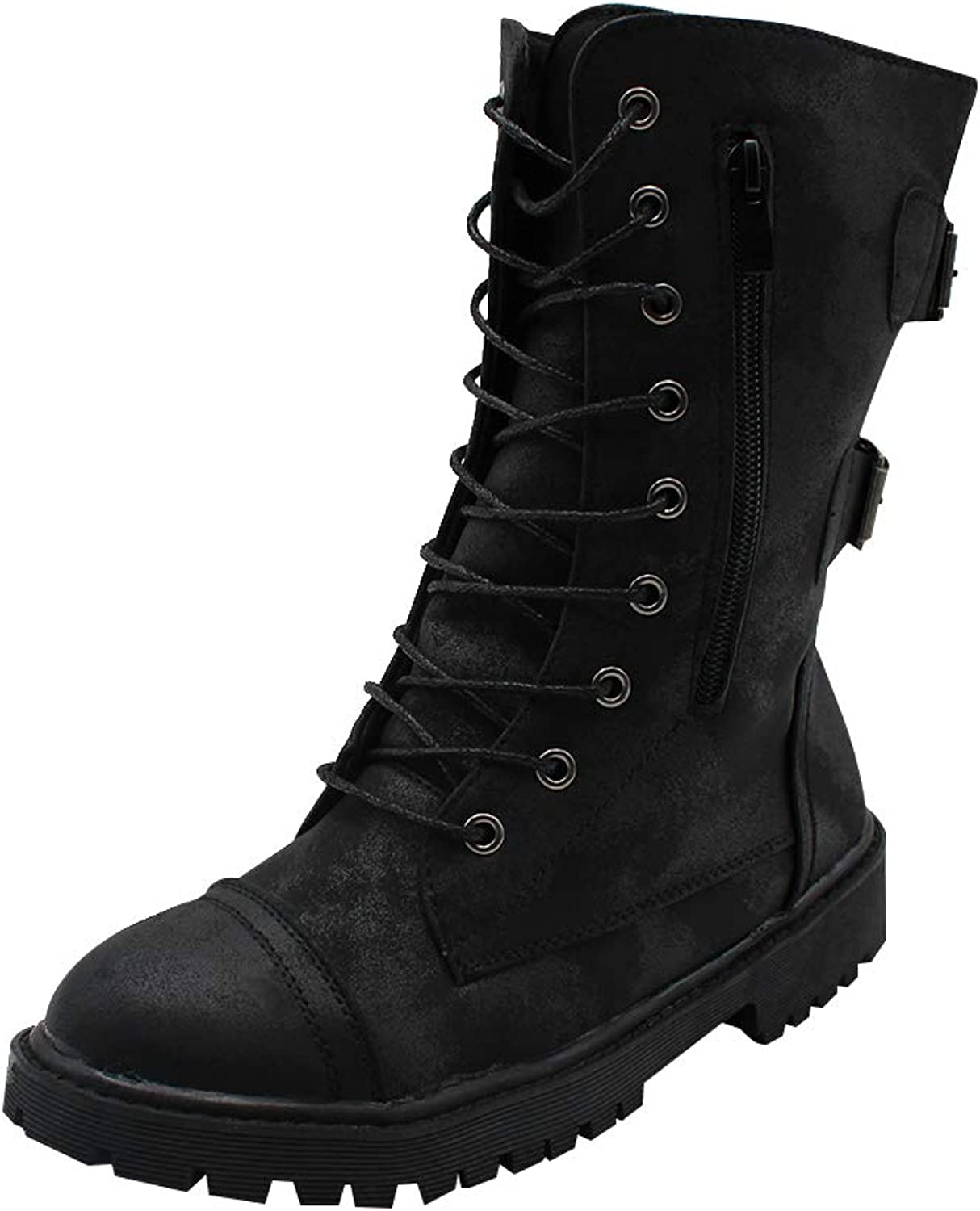 Uirend shoes Women Boots Mid Calf - Ladies Military Martin Motor Riding Combat Belt Buckle Leather Lace-up Zipper Flat Biker Boot