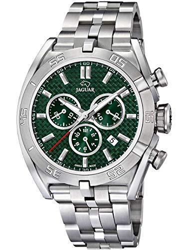 JAGUAR Reloj Modelo J852/5 de la colección Executive, Caja de 45,8 mm Verde con Correa de Acero para Caballero