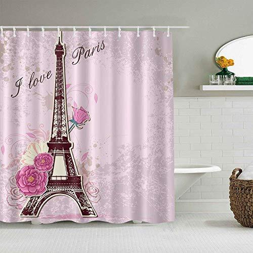 N\A Cortina de Ducha Rosa París Francia Torre Eiffel y Flores Amor romántico Forros de baño Impermeables Ganchos incluidos - Ideas Decorativas de baño Accesorios de Tela de poliéster