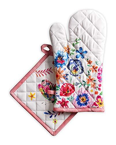 Maison d'Hermine Happy Florals-High Summer Lot comprenant 1 gant isolant (19 x 33 cm) et 1 manique (20 x 20 cm), 100 % coton, pour barbecue, plats chauds, micro-ondes, cuisine, printemps/été