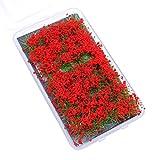 Tierney Flower Grass Tufts Juego de Mesa de Arena, Kit de Modelo de Terreno, racimo de Flores de arbusto,Miniatura, Modelos temáticos de Mesa de Arena, Modelo de Paisaje - Arbusto Rojo