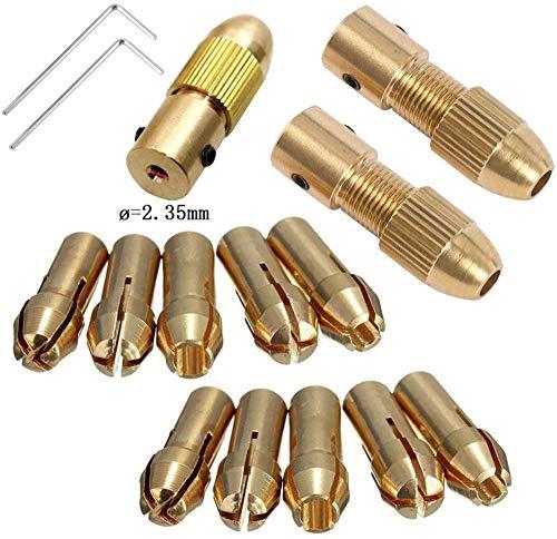 Broca eléctrica pequeña Collet Broca Micro Twist Drill Chuck Set Eje del motor con llave Allen 2.35mm Tapa de cobre (2.35mm X 2set)