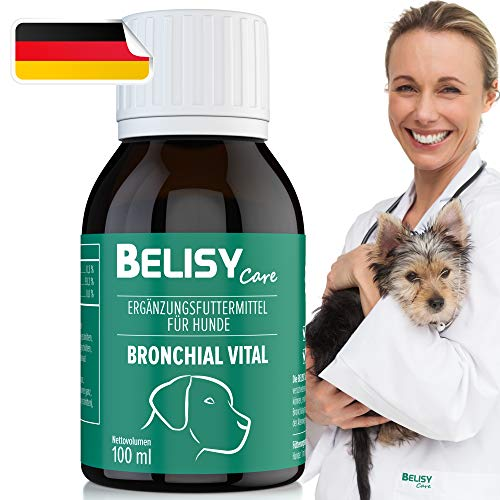 BELISY > Bronchial Vital < 100 ml Hustensaft für Hunde - Kräuter Auszug mit Spitzwegerich, Echinacea, Thymian & 10 weiteren Atemwegskräutern - Hergestellt & Laborgeprüft in Deutschland
