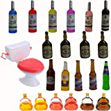 MEMOVAN Toilet Cake Topper 1PC and Miniature Wine Bottles Cake Cupcake Toppers 21PCS, Funny Mini Toilet Toy Dollhouse Cake Decorations for Bachelorette Party Or Birthday 21 and Up Girl Party