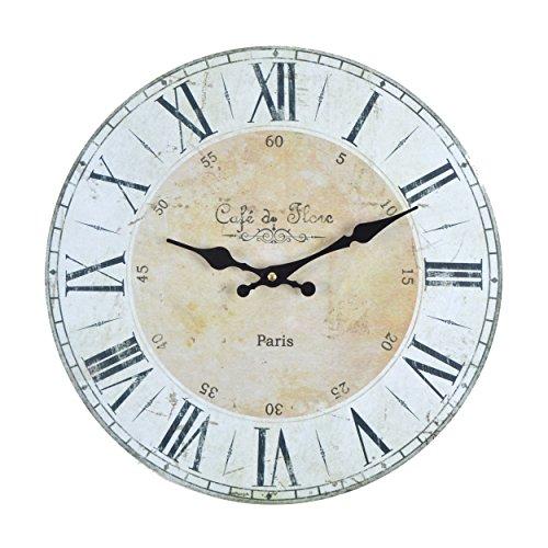 Vevendo Wanduhr - Cafe de Flore - Holz Küchenuhr mit großem Ziffernblatt aus MDF, Retro Uhr im angesagtem Shabby Chic Design mit leisem Quarz-Uhrwerk, Ø: 32 cm
