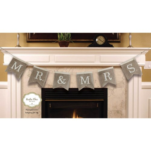 "Cypress Home Mr. and Mrs. Burlap Wedding Bunting Banner - Engagement Party or Wedding Reception Decoration - 67""L x 0.5""W x 8.25""H"