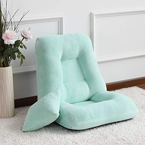 Silla de comedor Fuerte Tela Sofá Cama Sleeper Sofa, Respaldo Ajustable Lounge Chair Desmontable Lavable Floor Couded Chair Hermosa (Color : Blue)