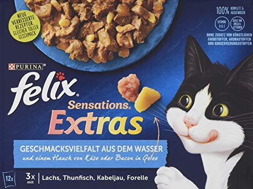 Felix Katzennassfutter Sensations Extra Geschmacksvielfalt aus dem Wasser, 1er Pack (12 x 85 g) Portionsbeutel