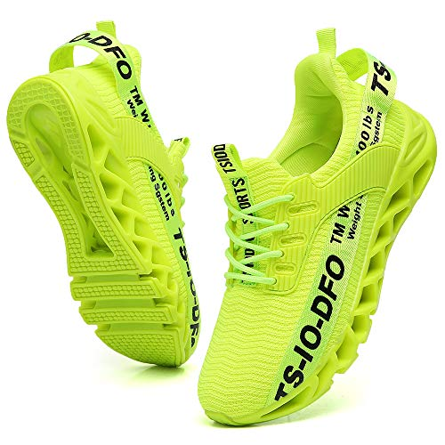 FRSHANIAH Sneakers for Men Slip On Casual Sport Running Shoes Athletic Jogging Tennis Walking Shoes Breathable Fashion Sneaker Gym Runner Trail Workout Shoes Green Size 12
