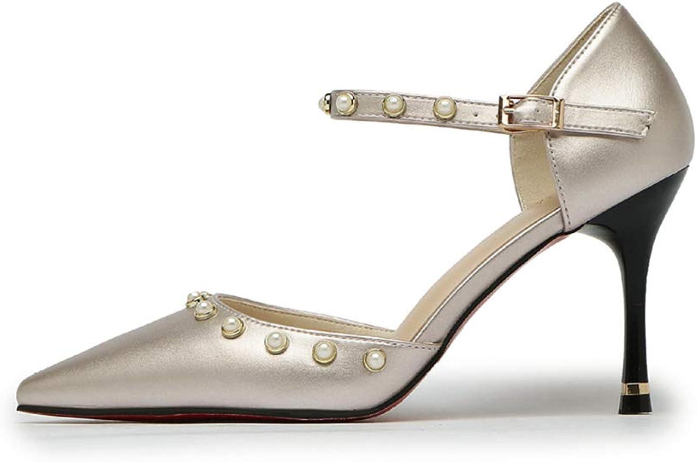 Womens Dress Pumps,High Heel Rivet Sexy Silver Summer Ankle Strap Buckle Pump