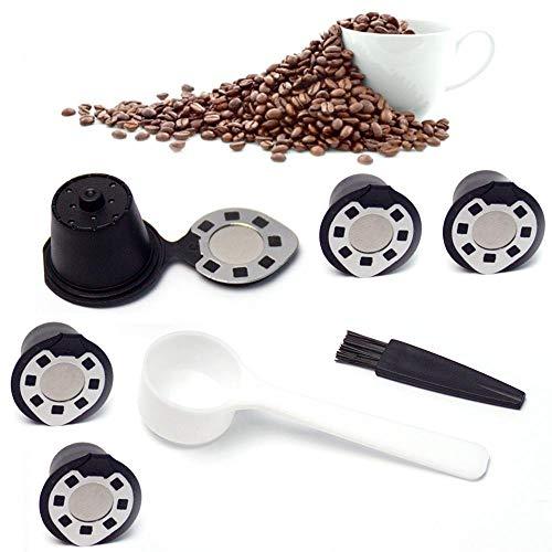 Volwco Wiederverwendbare Nespresso-Kapseln Nachfüllbare Kapseln 1 Tasse Kaffeefilter, umweltfreundlicher Edelstahl-Netzfilter für Nespresso-Maschinen mit Kaffeelöffel und Bürste für Dolce Gusto