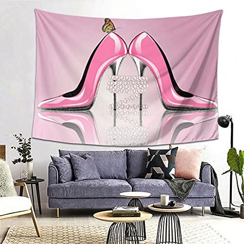 PATINISA Tapiz de Regalo,Elegante Mujer Rosa Tacón Alto Mariposa Collar Perla,Tapiz Bohemio diseño para Colgar en la Pared,Sala de Estar Dormitorio 60x51in