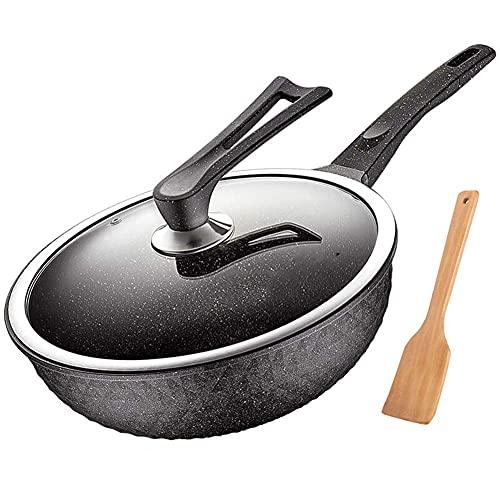 LYMUP Wok Plat Bas Wok pan cargoter Non-bâton pan cargon Pause Pot 30 cm jauge matifan Spar Série Moins de fumée d'huile de fumée à Induction cuisinière à gaz,Non Collant