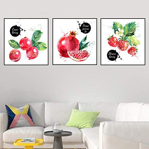 SJLAQ Dibujado a Mano Acuarela Frutas Minimalista Frutas de Temporada Ilustración Lienzo Pintura Arte de la Pared Impresión de imágenes Póster Decoración para el hogar-50x50cmx3 pcs Sin Marco