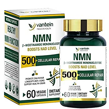 NMN Supplement Nicotinamide Mononucleotide Capsules for Supports Anti-Aging Longevity and Energy Naturally Boost NAD+ Levels  60 Capsules 30 Day Supply