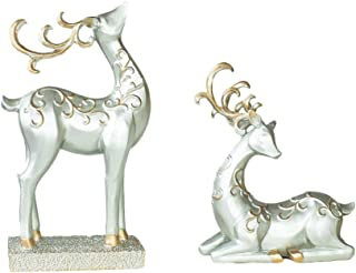 Decoration FJH Lucky Deer Shape Ornaments Sculpture Porch Living Room Corridor Hotel Lobby Cafe High-end (Color : Gold)