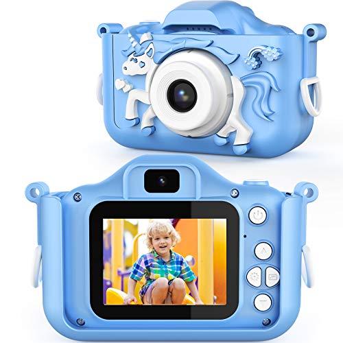 AOKEY 20 MP Digital Foto Kamera 1080P HD Selfie Videokamera mit Dual Lens, 2 Inch Bildschirm, 32G TF Karte, Klein Kamera für 3 bis 12 Jahre alte Jungen und Mädchen (blau)