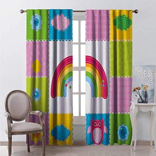 Cortina opaca para guardería, cuadrados, cosida, con temática de costura, diseño de arco iris, nubes de sol, naturaleza, 2 paneles, 100 x 200 cm, multicolor