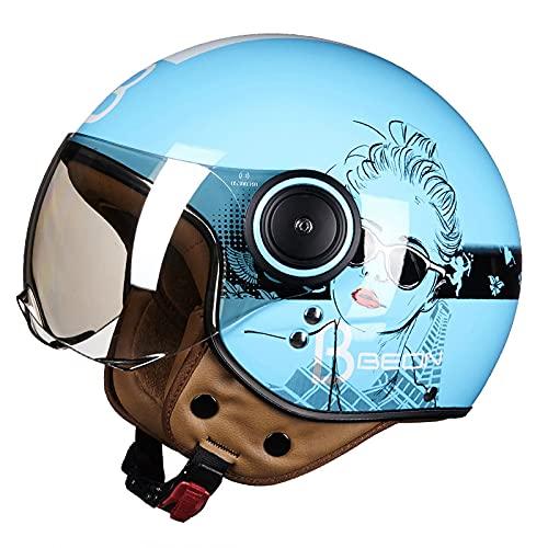 DDH Casco de Motocicleta, Casco Jet, Certificado por ECE y Punto, Casco de Scooter de piloto de Jet Vintage, visores Separados, Incluyendo Beige, m, l, XL-Blue  XL